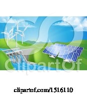 Clipart Of A Landscape Of Renewable Energy Plants With A Dam Solar Panels And Wind Turbines Royalty Free Vector Illustration