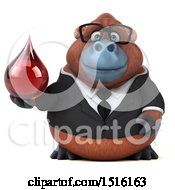 Clipart Of A 3d Business Orangutan Monkey Holding A Blood Drop On A White Background Royalty Free Illustration