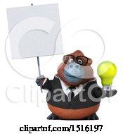 3d Business Orangutan Monkey Holding A Light Bulb On A White Background