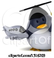 Clipart Of A 3d Chubby Penguin Graduate Holding A Plane On A White Background Royalty Free Illustration
