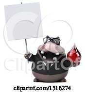 Clipart Of A 3d Business Hippo Holding A Blood Drop On A White Background Royalty Free Illustration