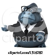 Clipart Of A 3d Business Gorilla Mascot Presenting On A White Background Royalty Free Illustration