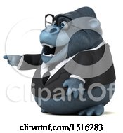 Clipart Of A 3d Business Gorilla Mascot Pointing On A White Background Royalty Free Illustration