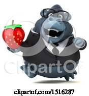 Clipart Of A 3d Business Gorilla Mascot Holding A Strawberry On A White Background Royalty Free Illustration
