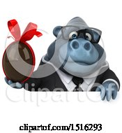 Clipart Of A 3d Business Gorilla Mascot Holding A Chocolate Egg On A White Background Royalty Free Illustration