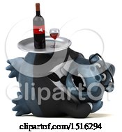 Clipart Of A 3d Business Gorilla Mascot Holding Wine On A White Background Royalty Free Illustration