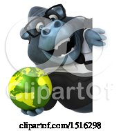 Clipart Of A 3d Business Gorilla Mascot Holding A Globe On A White Background Royalty Free Illustration