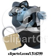Clipart Of A 3d Business Gorilla Mascot Holding A Padlock On A White Background Royalty Free Illustration