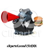 Clipart Of A 3d Business Gorilla Mascot Holding A Burger On A White Background Royalty Free Illustration