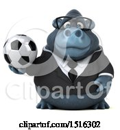 Clipart Of A 3d Business Gorilla Mascot Holding A Soccer Ball On A White Background Royalty Free Illustration