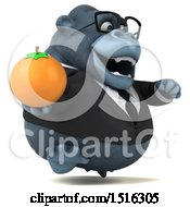 Clipart Of A 3d Business Gorilla Mascot Holding An Orange On A White Background Royalty Free Illustration