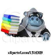 Clipart Of A 3d Business Gorilla Mascot Holding Books On A White Background Royalty Free Illustration