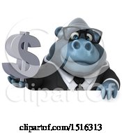 Clipart Of A 3d Business Gorilla Mascot Holding A Dollar Sign On A White Background Royalty Free Illustration
