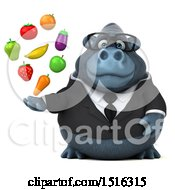 Clipart Of A 3d Business Gorilla Mascot Holding Produce On A White Background Royalty Free Illustration