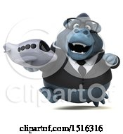 Clipart Of A 3d Business Gorilla Mascot Holding A Plane On A White Background Royalty Free Illustration