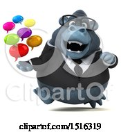 Clipart Of A 3d Business Gorilla Mascot Holding Messages On A White Background Royalty Free Illustration