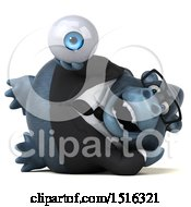 Clipart Of A 3d Business Gorilla Mascot Holding An Eye On A White Background Royalty Free Illustration