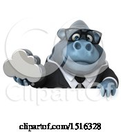Clipart Of A 3d Business Gorilla Mascot Holding A Cloud On A White Background Royalty Free Illustration