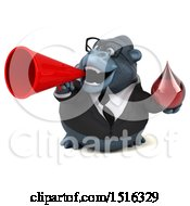 Clipart Of A 3d Business Gorilla Mascot Holding A Blood Drop On A White Background Royalty Free Illustration