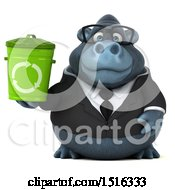 Clipart Of A 3d Business Gorilla Mascot Holding A Recycle Bin On A White Background Royalty Free Illustration