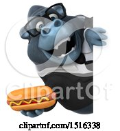 Clipart Of A 3d Business Gorilla Mascot Holding A Hot Dog On A White Background Royalty Free Illustration