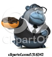 Clipart Of A 3d Business Gorilla Mascot Holding A Donut On A White Background Royalty Free Illustration