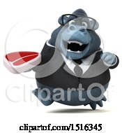 Clipart Of A 3d Business Gorilla Mascot Holding A Steak On A White Background Royalty Free Illustration