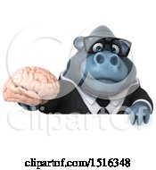 Clipart Of A 3d Business Gorilla Mascot Holding A Brain On A White Background Royalty Free Illustration