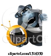 Clipart Of A 3d Business Gorilla Mascot Holding A Tv On A White Background Royalty Free Illustration