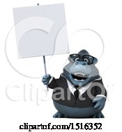 Clipart Of A 3d Business Gorilla Mascot Holding A Sign On A White Background Royalty Free Illustration