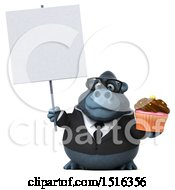 Clipart Of A 3d Business Gorilla Mascot Holding A Cupcake On A White Background Royalty Free Illustration