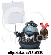 Clipart Of A 3d Business Gorilla Mascot Holding A Chocolate Egg On A White Background Royalty Free Illustration by Julos