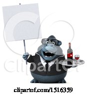 Clipart Of A 3d Business Gorilla Mascot Holding Wine On A White Background Royalty Free Illustration by Julos