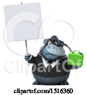 Clipart Of A 3d Business Gorilla Mascot Holding A Gas Can On A White Background Royalty Free Illustration by Julos