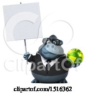 Clipart Of A 3d Business Gorilla Mascot Holding A Globe On A White Background Royalty Free Illustration by Julos