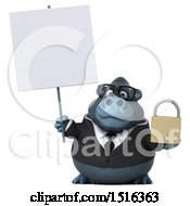 Clipart Of A 3d Business Gorilla Mascot Holding A Padlock On A White Background Royalty Free Illustration by Julos