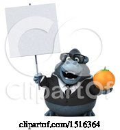 Clipart Of A 3d Business Gorilla Mascot Holding An Orange On A White Background Royalty Free Illustration by Julos