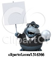 Clipart Of A 3d Business Gorilla Mascot Holding A Golf Ball On A White Background Royalty Free Illustration by Julos