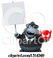 Clipart Of A 3d Business Gorilla Mascot Holding A Devil On A White Background Royalty Free Illustration by Julos