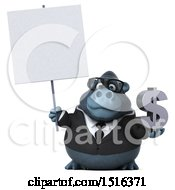 Clipart Of A 3d Business Gorilla Mascot Holding A Dollar Sign On A White Background Royalty Free Illustration by Julos