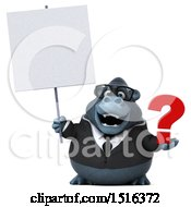 Clipart Of A 3d Business Gorilla Mascot Holding A Question Mark On A White Background Royalty Free Illustration by Julos