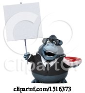 Clipart Of A 3d Business Gorilla Mascot Holding A Steak On A White Background Royalty Free Illustration by Julos