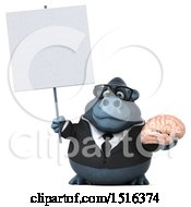 Clipart Of A 3d Business Gorilla Mascot Holding A Brain On A White Background Royalty Free Illustration by Julos