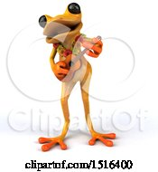 Clipart Of A 3d Yellow Frog Playing A Ukulele On A White Background Royalty Free Illustration