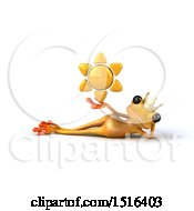 3d Yellow Frog Prince Holding A Sun On A White Background