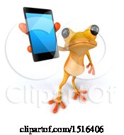 3d Yellow Frog Holding A Smart Phone On A White Background
