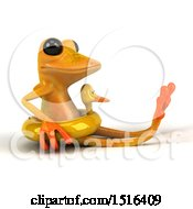 Clipart Of A 3d Yellow Frog Wearing An Inner Tube On A White Background Royalty Free Illustration