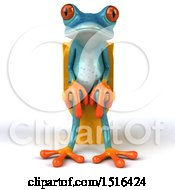 Clipart Of A 3d Blue Frog Sitting On A Toilet On A White Background Royalty Free Illustration