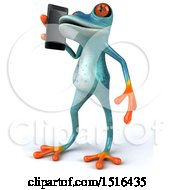 3d Blue Frog Talking On A Cell Phone On A White Background