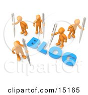 Orange People Surrounding The Blue Word Blog And Holding Large Pens Clipart Illustration Graphic by 3poD